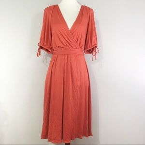 Banana Republic Silk Blend Waist Tie Dress Orange
